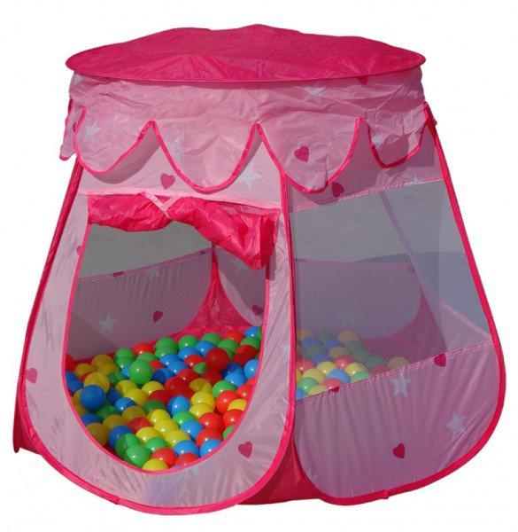 Dětský domeček s míčky pink